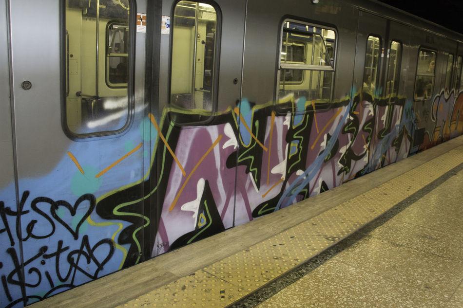 Subway grafitti Art Color Commuter Train Exploring Expression Grafitti Mode Of Transport Subway Train Tagging Transportation
