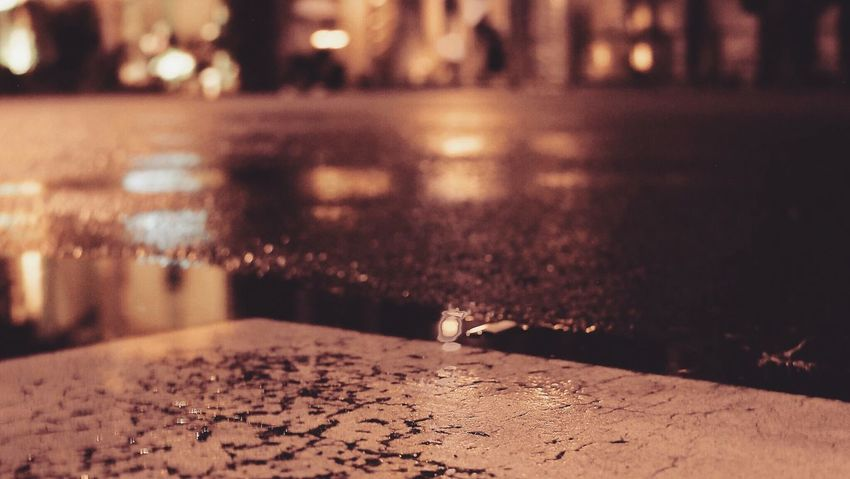 Night No People Illuminated Focus On Foreground Street Outdoors Nature Close-up Water Defocused