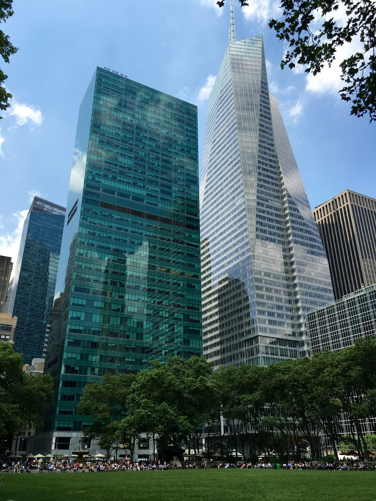 The Architect - 2016 EyeEm Awards Bryant Park NYC Bank Of America Tower Looking Up Blue Sky Skyscrapers Architecture_collection Tranquil Scene