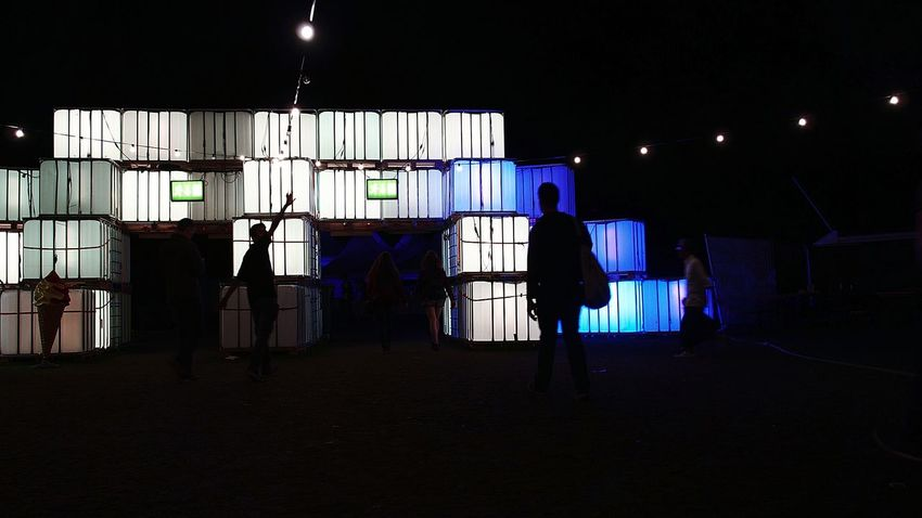 Wide Angle Silhouette Architecture Illuminated Built Structure Standing Dark Night Person Domestic Life Steps In Front Of Young Adult Exit And Entrance Fake Ice Cream Cornetto White Jardin Du Plaisir NightSnaps Electric Light Cubes & Light Light Cube Outdoors Blue Part of Zürifäscht 2016 impressions |8|