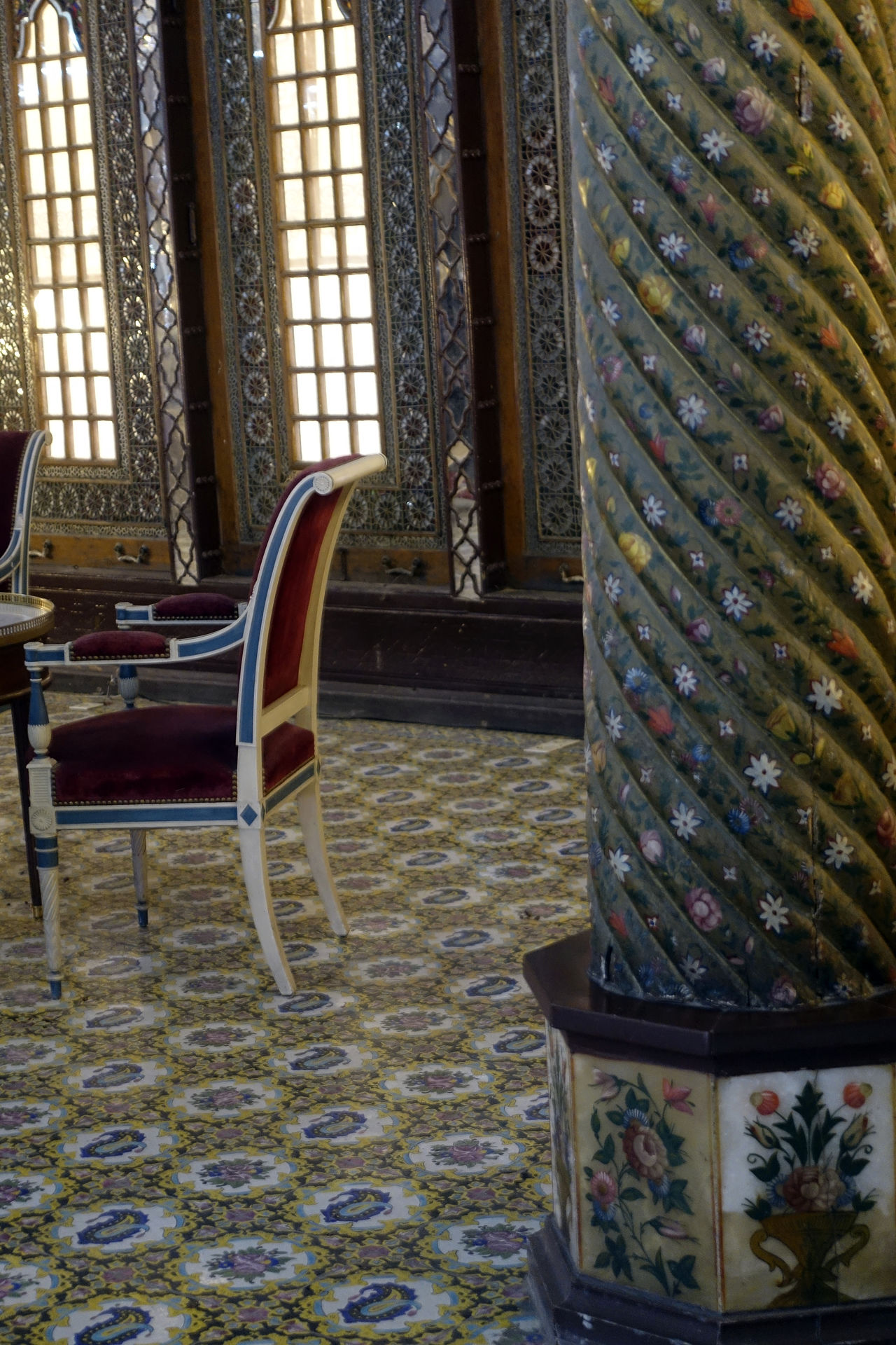 Built Structure Chair Day Golestan Palace Indoors  No People Pattern Tradition