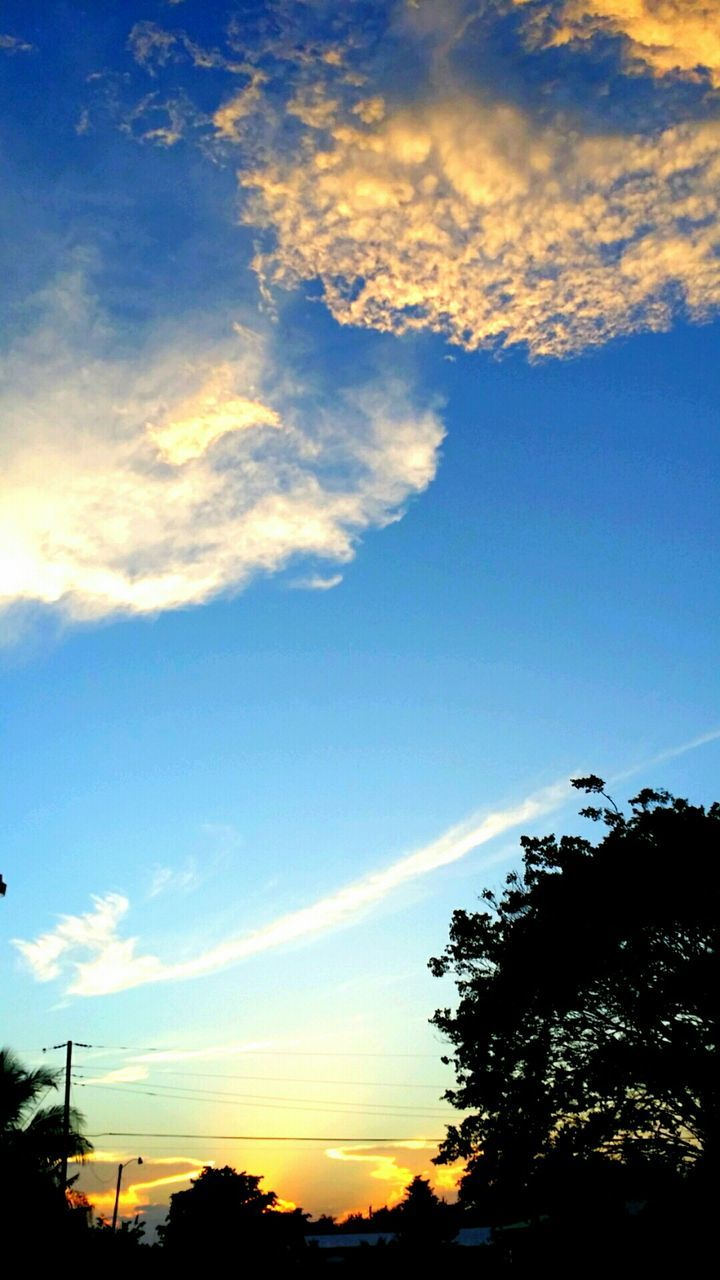 beauty in nature, sky, sunset, nature, silhouette, scenics, cloud - sky, tranquility, low angle view, no people, outdoors, tree, tranquil scene, blue, day
