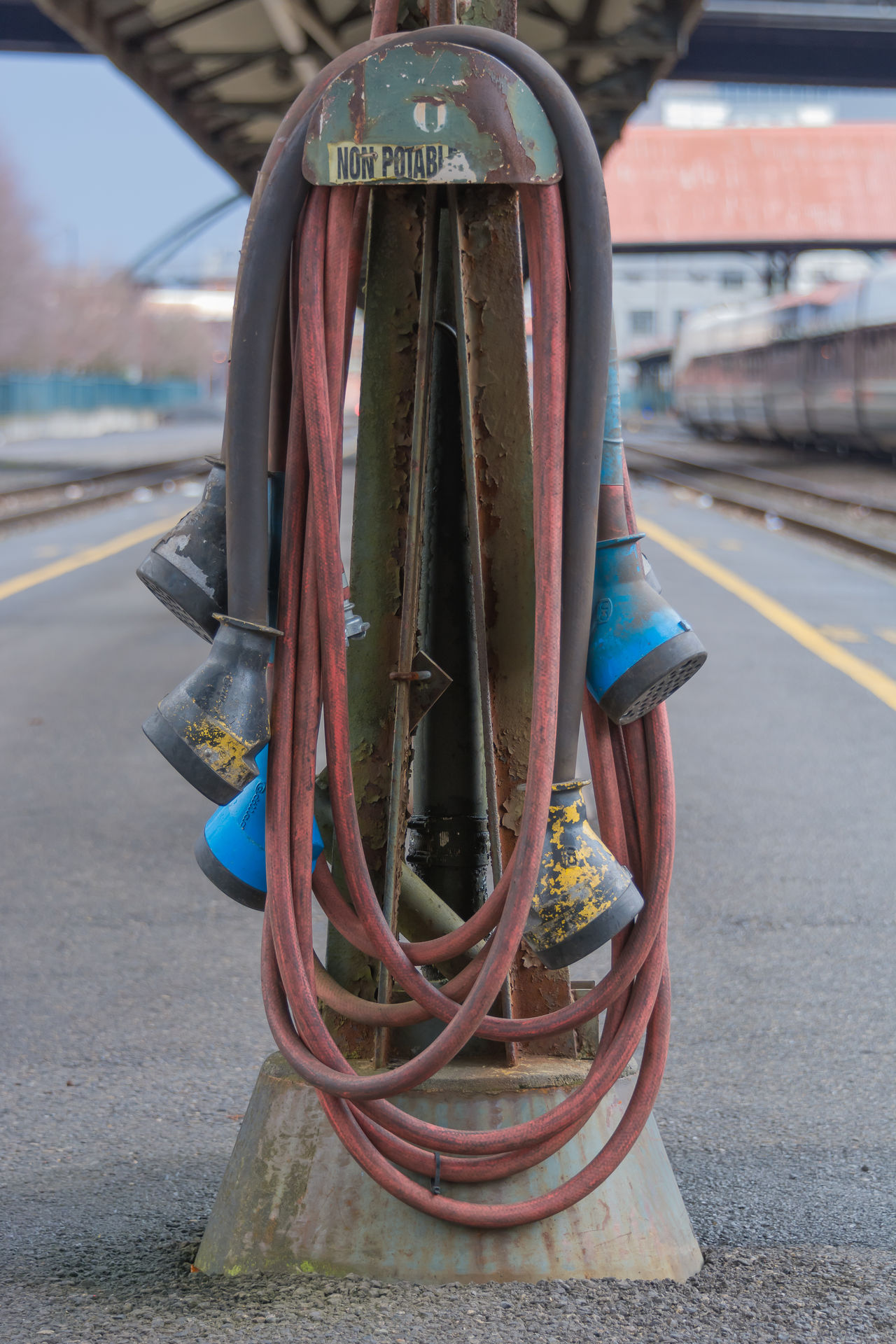Day Industrial Photography Industry No People Outdoors Train Station Water Hose