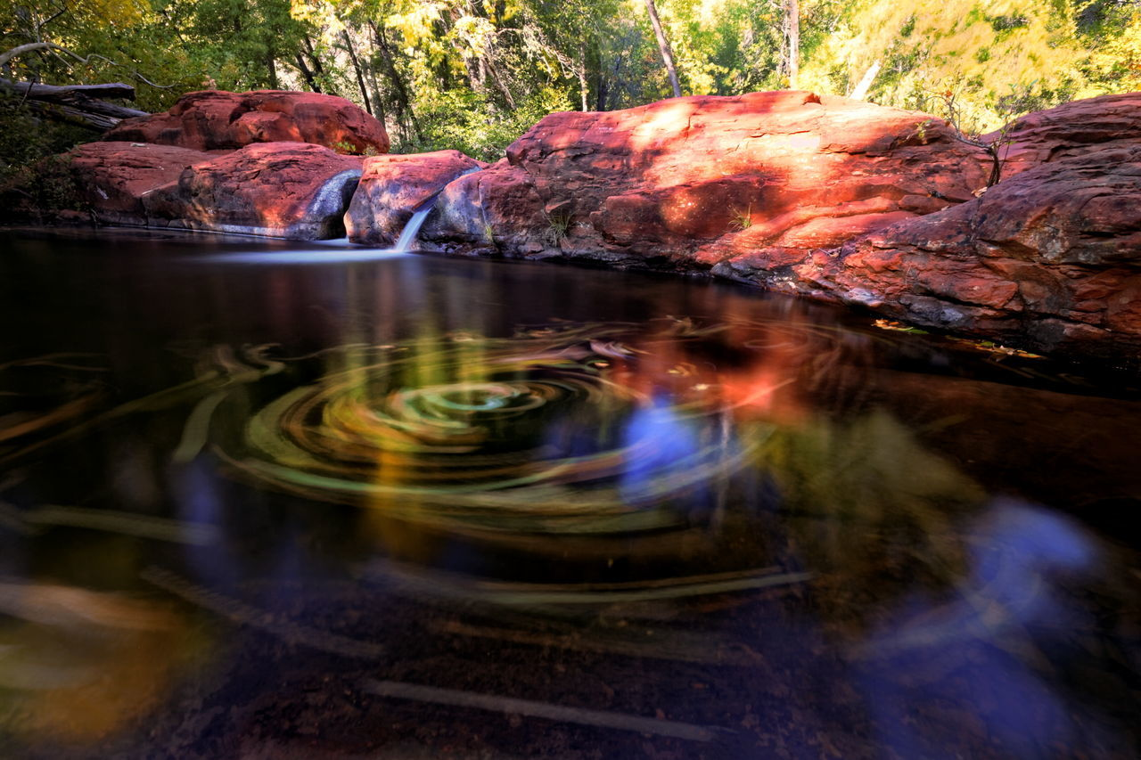 Fall Reflections Arizona Autumn Beauty In Nature Fall Leaf Motion Multi Colored Nature No People Outdoors Red Rocks  Redrocks Reflection Scenics Water