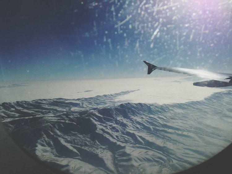 From An Airplane Window Tajikistan Mountains Snow