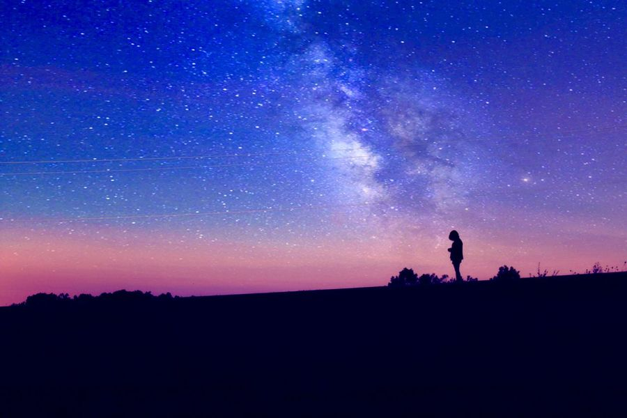 Silhouette Star - Space Night Nature Sky Astronomy Beauty In Nature Scenics Tranquil Scene Outdoors One Person Real People Galaxy Space People One Man Only Adult