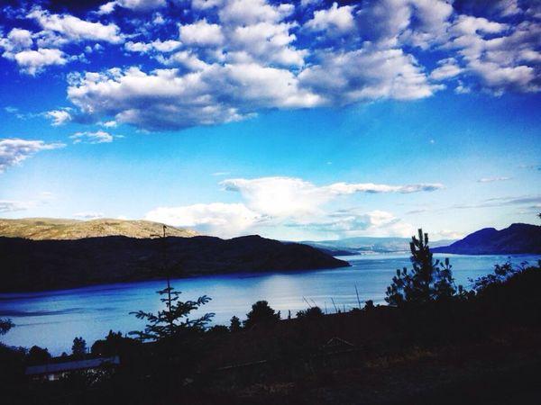 Okanagan Valley, Kelowna, Canada Okanaganlake Okanagan Valley Kelowna,BC Canada Blue Sky Clouds And Sky Mountains Lake Nature Nature_collection
