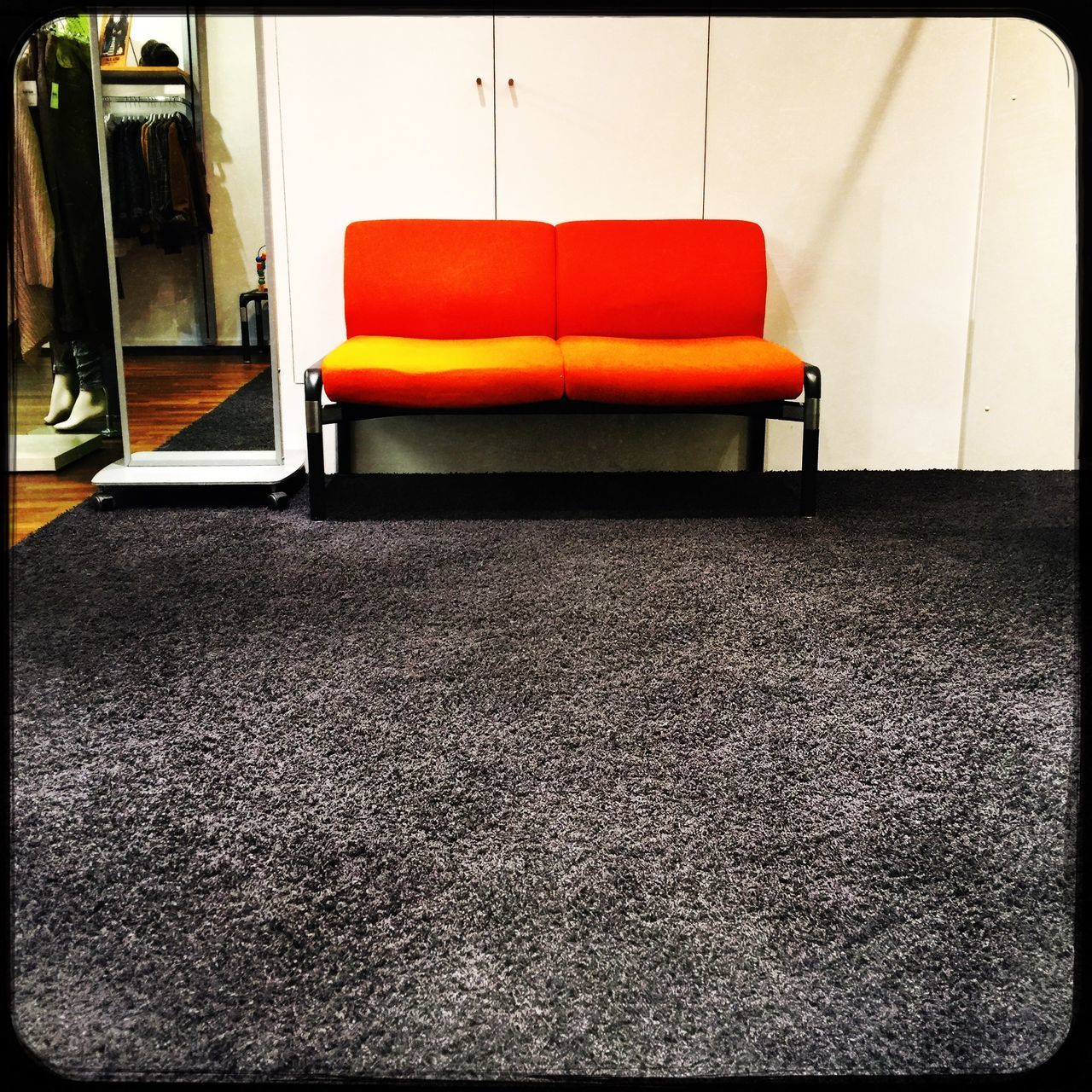 Orange couch Couch Sofa Interior Design Interior Orange Color Color Room Shop Home Floor Design Modern Style Living Furnitures Inddors Contrast Space Mirror Grey Carpet Lifestyle Cheerful Simple