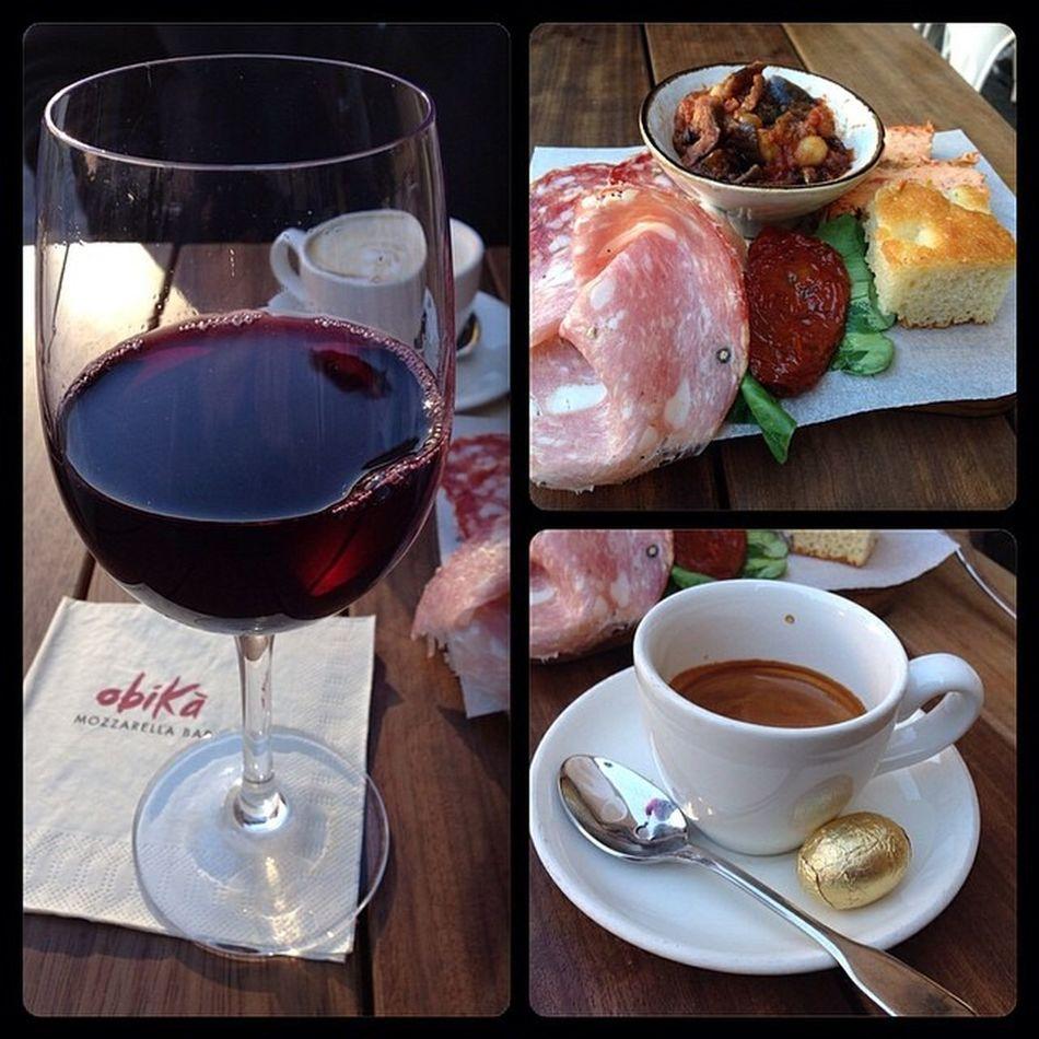 Enjoying my first real Italian Aperitivo  w a side of espresso for the jetlag. Salute! cc. @soulofmiami Wanderlustfoodie