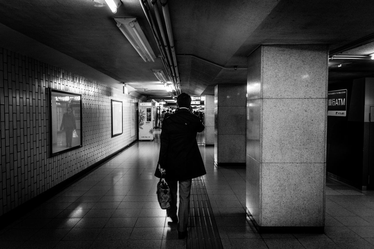 Black And White Day EyeEm Best Shots EyeEm Gallery Light And Shadow Night One Person People Rear View Snapshots Of Life Street Photography Subway Train Urban Exploration Walking Around