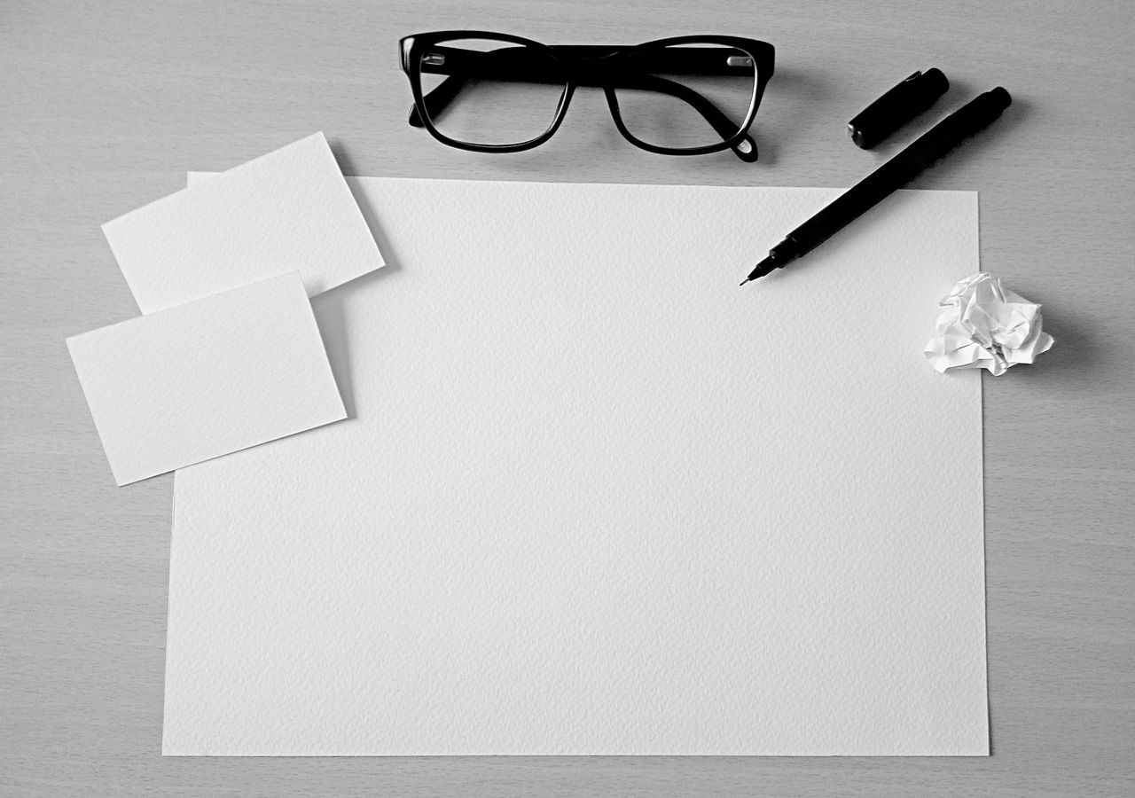 Aquarell Paper Black And White Designing Eyeglass Mockup Mockup Scene Namecard Namecards Table White Paper Working