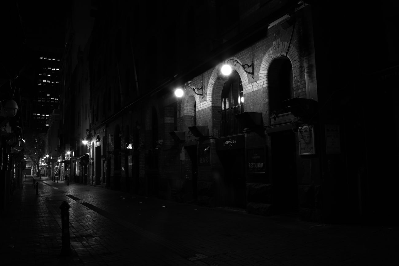 THE ALLEWAY Architecture Building Built Structure City City Life City Street Dark Diminishing Perspective Empty Illuminated Lighting Equipment Night No People Outdoors Sky Street Light The Way Forward Vanishing Point