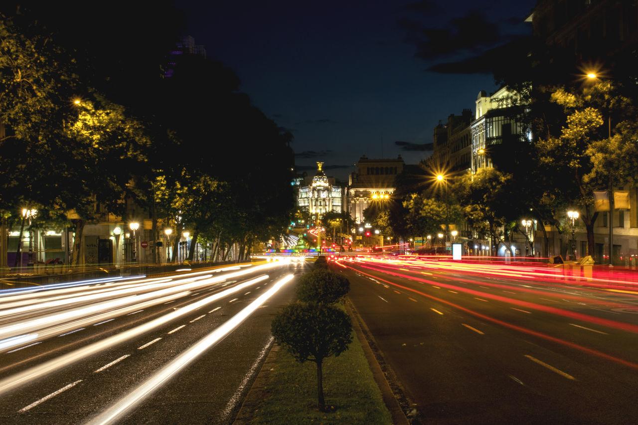 Architecture City Illuminated Light Trail Light Trails Long Exposure Motion Night Night Lights Road Street Transportation