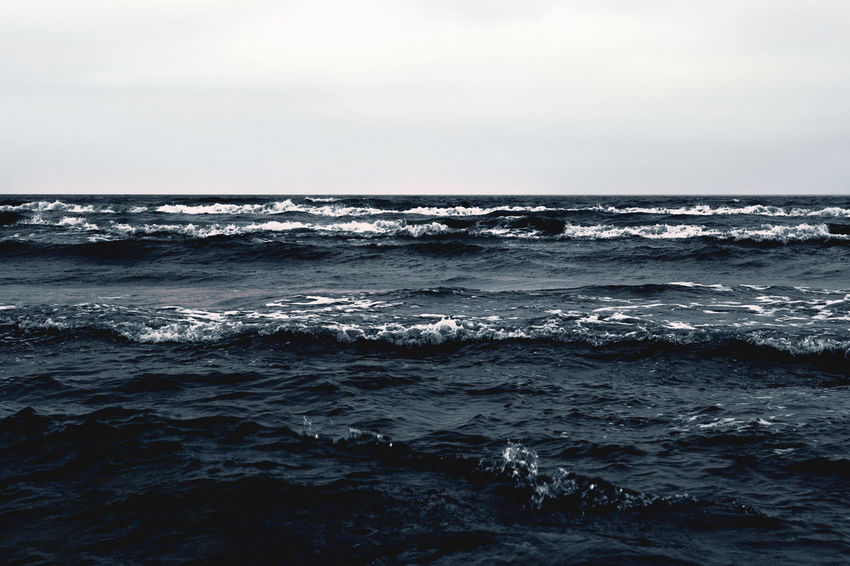 Day Horizon Over Water Moody Nature Sea Water Wave Waves