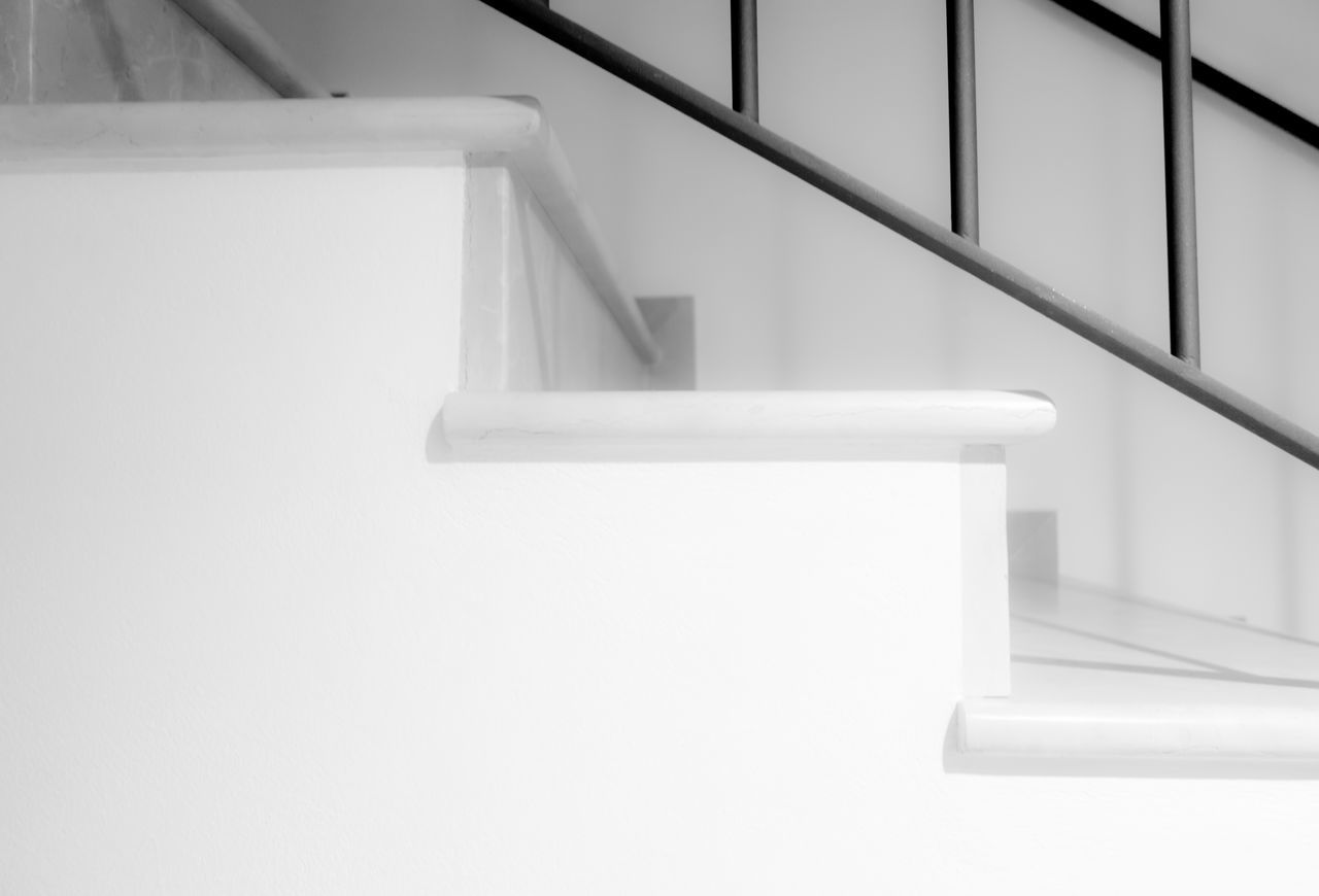 Architecture Black And White Black And White Photography Built Structure Close-up Day Indoors  Low Angle View Modern No People Railing Stair Staircase Stairs Stairs & Shadows Stairs To Heaven Stairs_collection Steps Steps And Staircases