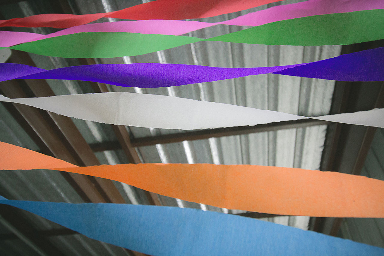 multi colored, no people, close-up, hanging, paper, indoors, day