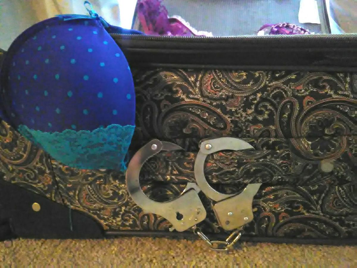 Close-up Bags Are Packed Bra Handcuffs  Suitcase Paisley Pattern Fabric Pokadots Blue Metal Handcuffed Locked Snm Getting Ready Bags Suitcase Woman