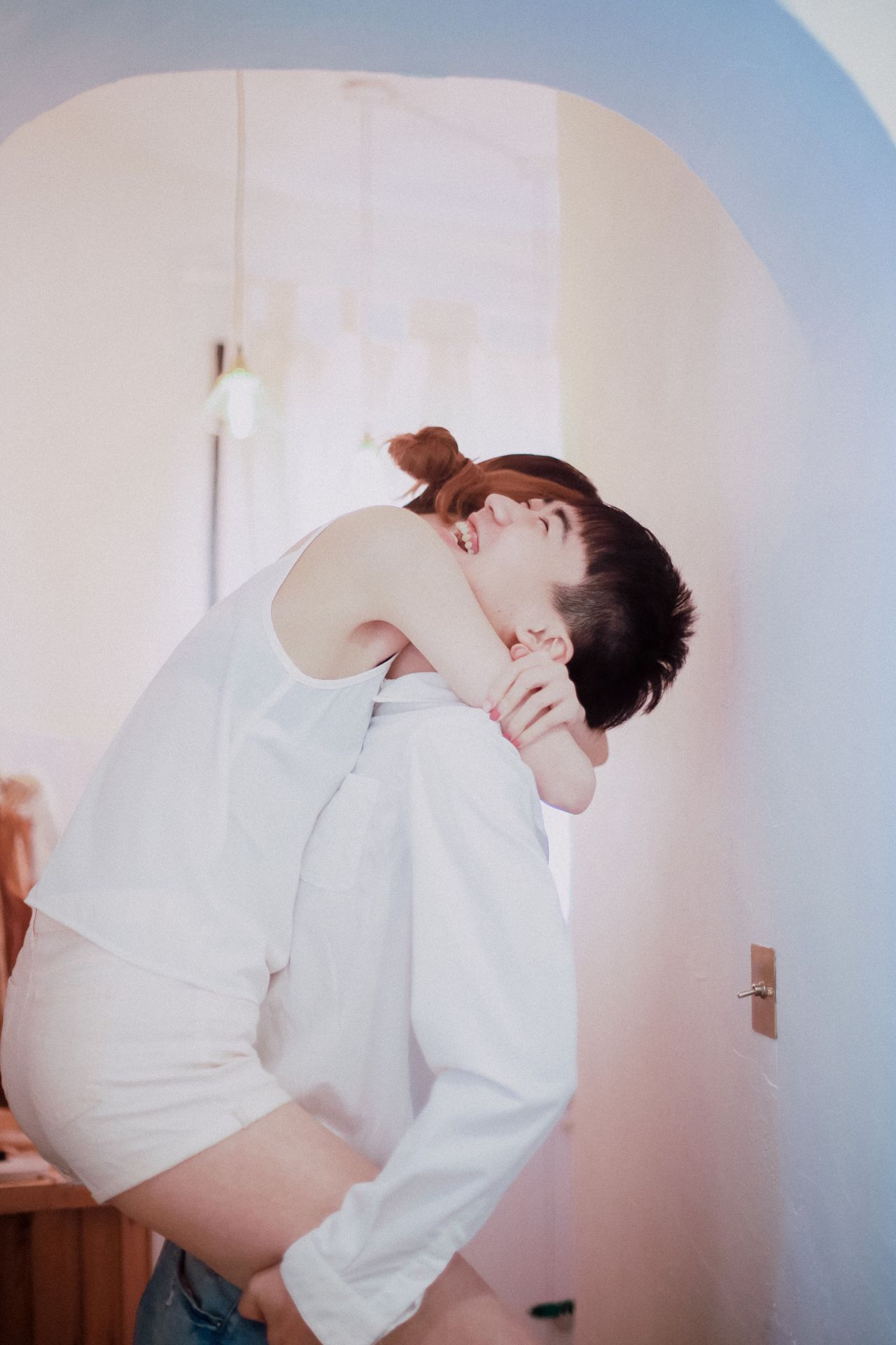 Big laugh Laughing Hugging Lovers Couple Younglove Sweetness Happiness Snap