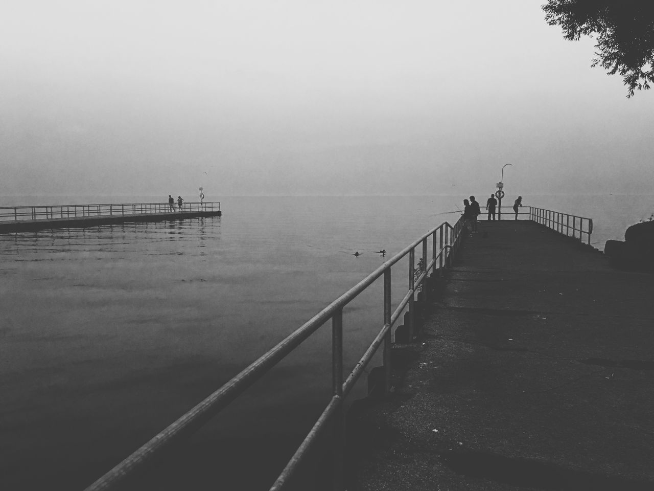 water, sea, railing, pier, nature, tranquil scene, tranquility, fog, outdoors, beauty in nature, day, scenics, horizon over water, sky, jetty, silhouette, men, real people, people