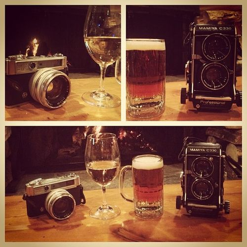 His & Hers Drinks and Camera Mamiya C330 yashica lynx old vintage throwback fireplace alberta cozy @rytake