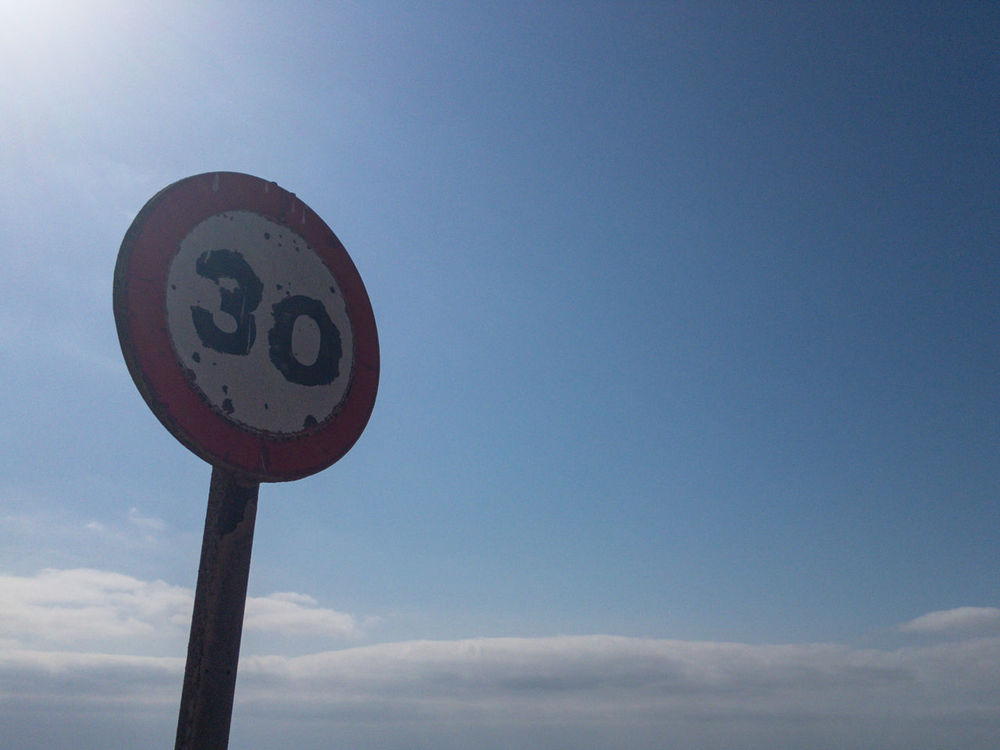 30 Blue Circle Communication Day Guidance Low Angle View Nature No People Number Outdoors Road Sign Sky Speed Limit Sign Thirty Warning Sign