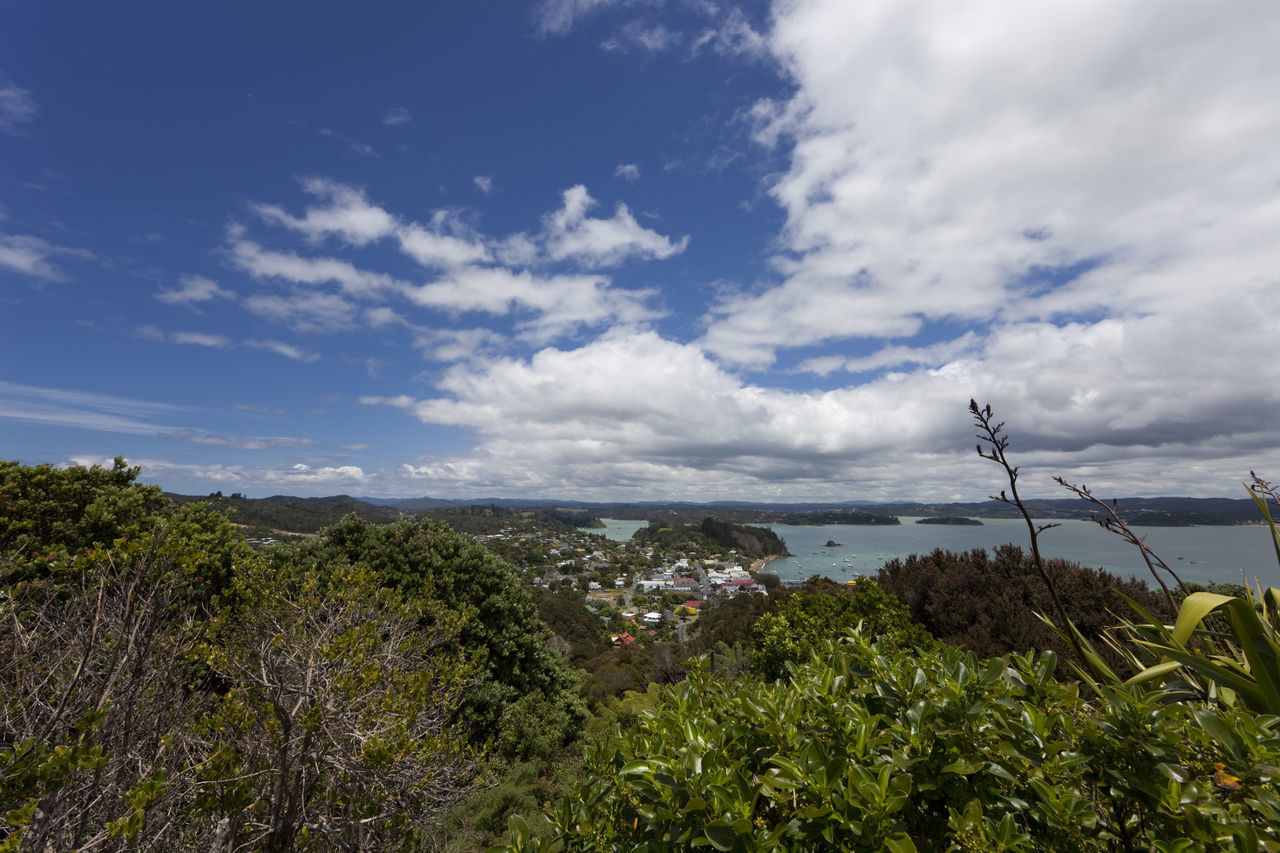 View over Russell and Bay of Islands - Panorama from Flagstiff Hill in Northland, North Island, New Zealand Bay Of Islands Beauty In Nature Cloud - Sky Coast Coastline High Angle View Island Landscape Landscape_Collection Landscape_photography Landscapes Lush Foliage Nature New Zealand No People North Island Northland Panorama Russell Scenery Scenics Sea TOWNSCAPE Village Water