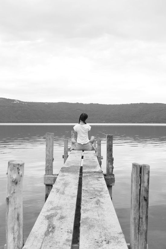 Looking far far away. Casual Clothing Casualstyle Dream About It Getting Away Hair Style Braids Lake Bridge My Thoughts Always Run Wild One Girl Tranquil Scene Tranquility Transparent Water Watching The View