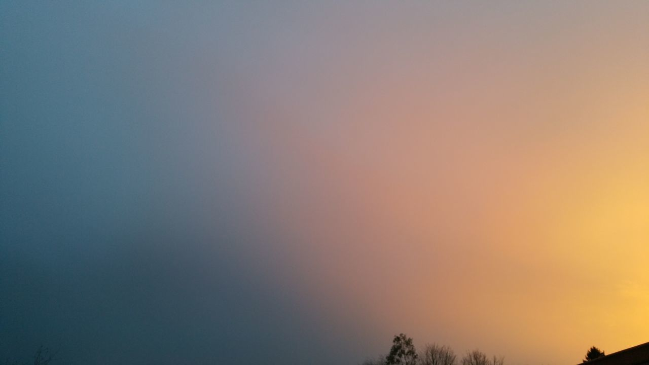 nature, beauty in nature, scenics, tranquil scene, tranquility, sunset, orange color, tree, sky, no people, outdoors, silhouette, clear sky, low angle view, day