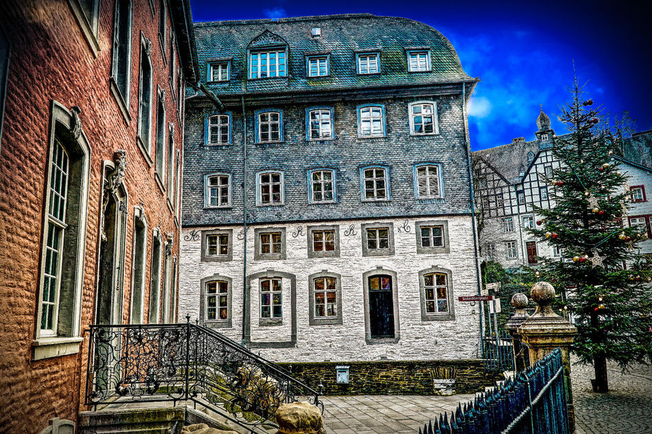 Architecture Building Exterior Built Structure City Façade Hdrphotography History Low Angle View Monschau Eifel Germany No People Outdoors Rathaus Red Town Hall Rotes Rathaus Sky Streetphotography Town Hall Townhouse Window