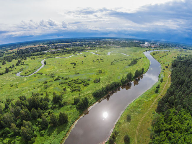 Over the river Mologa near Maksatikha. Aerial Aerial View Cloud - Sky Day Grass Green Color Horizontal Landscape Maksatiha Maksatikha Mologa Nature No People Nobody Outdoors River Scenics Water