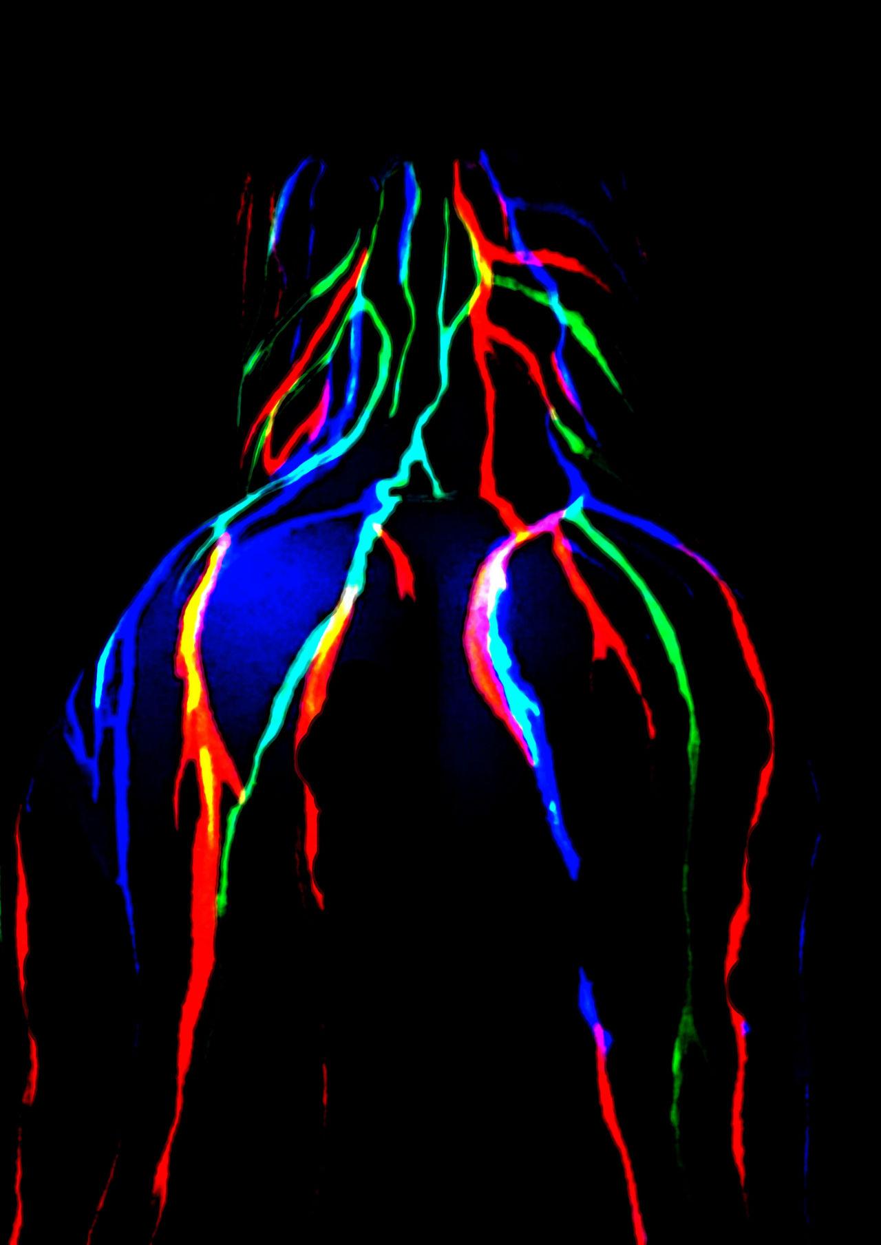 Bodypainting-back Woman Woman Portrait Back Backgrounds Acrylic Colors Glow Shine Art ArtWork