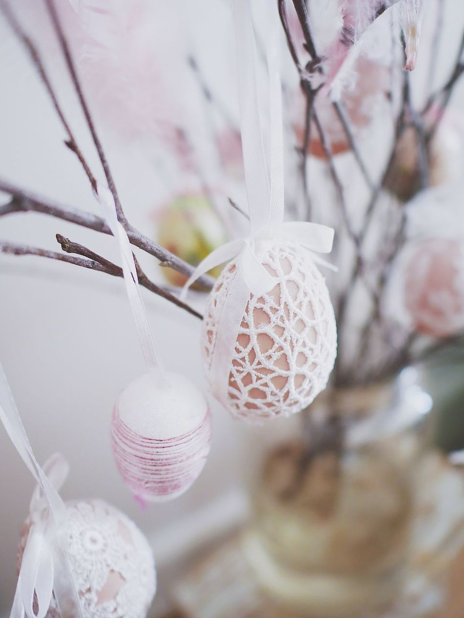 Celebration Decoration Hanging Indoors  Close-up Tradition No People Cultures Focus On Foreground Bauble Christmas Easter Christmas Decoration Christmas Ornament Day Fragility Lace - Textile Ornaments Egg Still Life Lace Home Interior Pastel Colors Softness Indoors