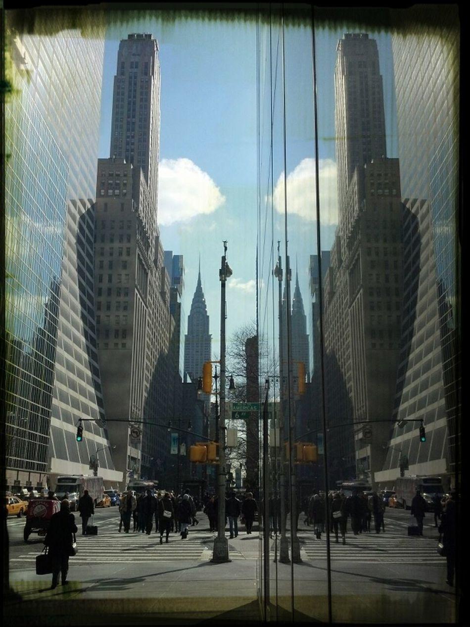 Reflection NYC Chrysler Building Grace Building