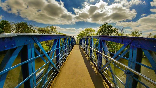 Bridge river Crossing steel Blue thames Teddington Lock London