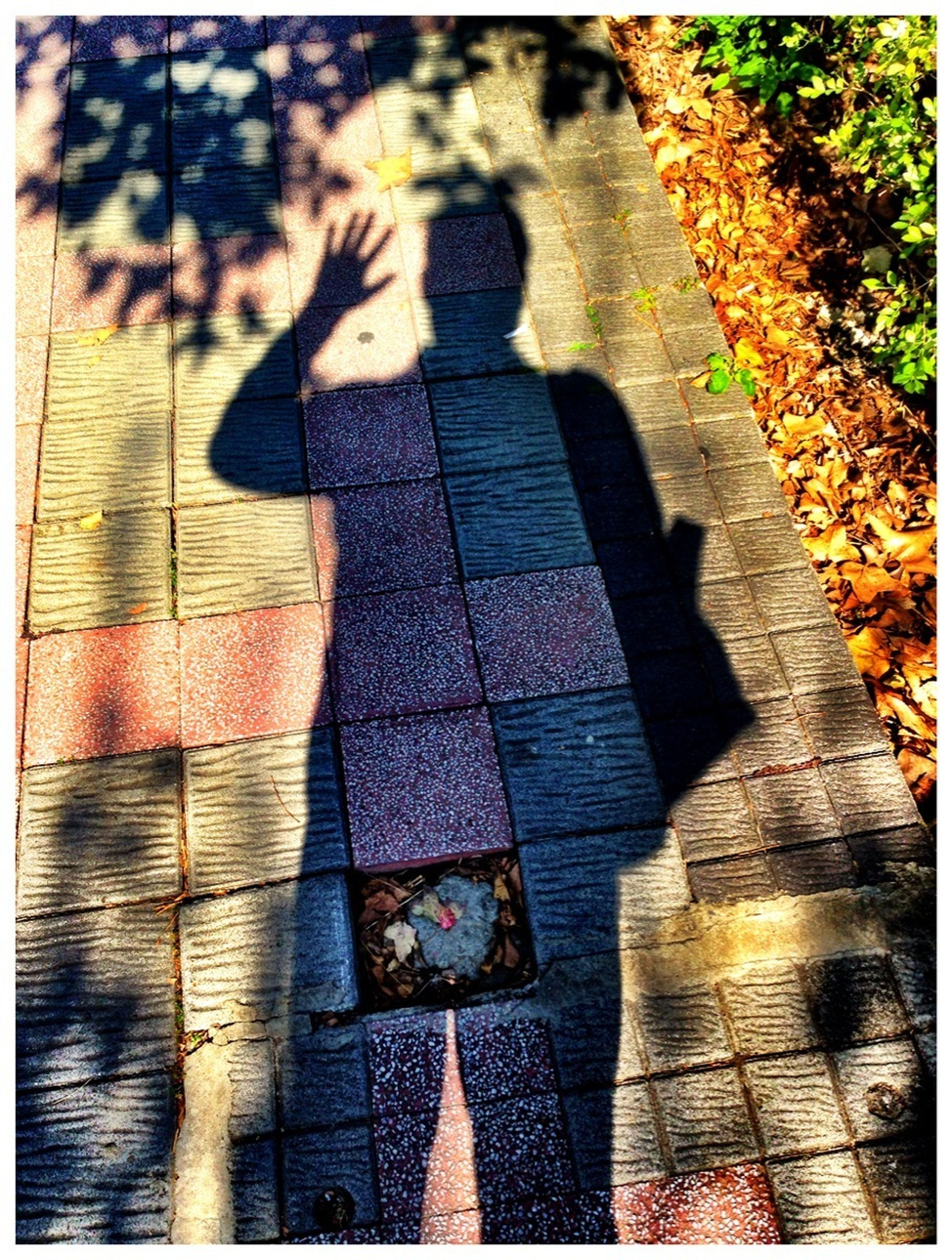 transfer print, auto post production filter, shadow, high angle view, lifestyles, sunlight, leisure activity, low section, standing, sidewalk, steps, day, street, outdoors, wood - material, focus on shadow, footpath, walking