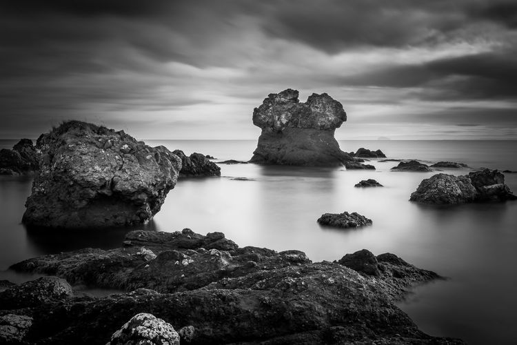 Beauty In Nature Blackandwhite Cloud - Sky Day Horizon Over Water Idyllic Long Exposure Nature No People Outdoors Rock Rock - Object Rock Formation Scenics Sea Sky Tranquil Scene Tranquility Water