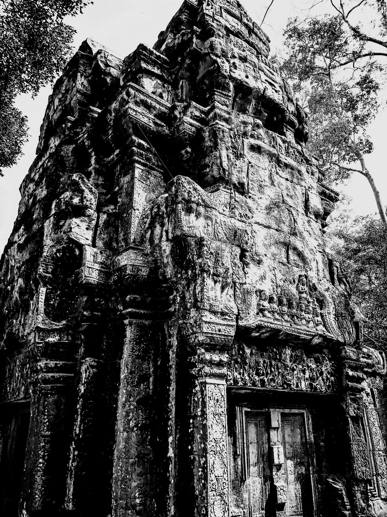 Tomb Rider experience in Bayhon Temple in Angkor Thom. Architecture Old Ruin Khmer Empire Angkor Thom TombRider