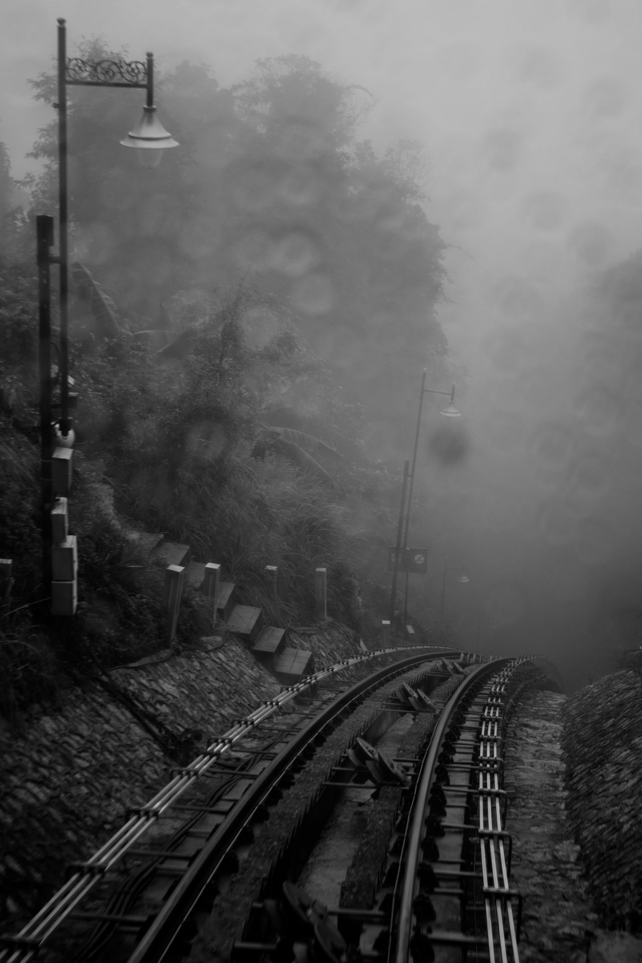 Black And White Blackandwhite Cloud - Sky Diminishing Perspective EyeEm Best Shots - Black + White Foggy Foggy Morning Lamppost Outdoors Penang Penang Hill Railroad Track Railway Rain Roller Coaster Sky The Way Forward Tram Tram Tracks Vanishing Point