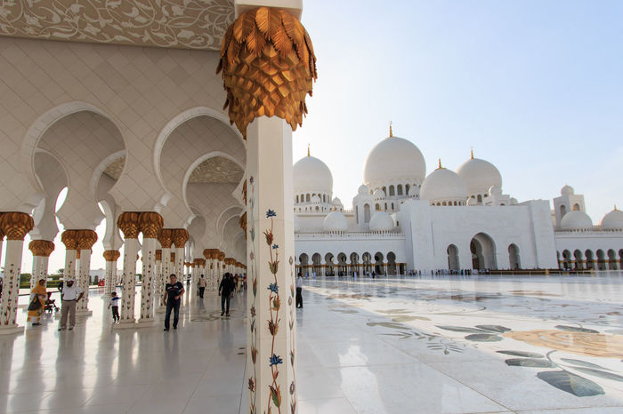 Sheikh Zayed mosque in Abu-Dhabi Abu Dhabi Arabic Arch Architectural Feature Architecture Building Exterior Built Structure Clear Sky Dome Faith Famous Place History Islam Mosque National Landmark People Place Of Worship Religion Sheik Zayed Mosque Spirituality Tourism Travel Travel Destinations United Arab Emirates White Mosque
