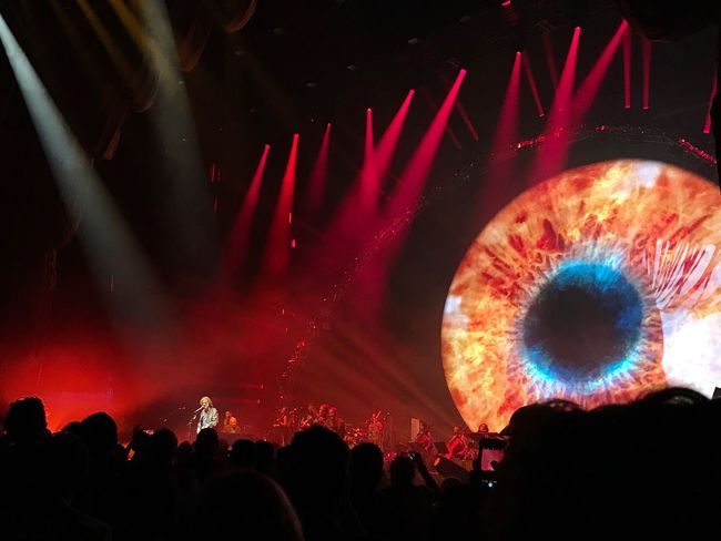Battle Of The Cities Illuminated Large Group Of People Eye Eyeball Elo Jeff Lynne's ELO Jeff Lynne Crowd Silhouette Nightlife Night Unrecognizable Person Leisure Activity Event Performance Fun Vibrant Color Glowing Concert Red Stage - Performance Space