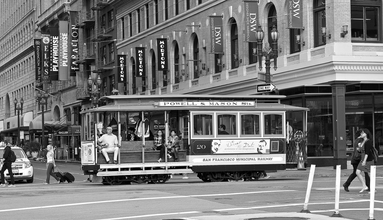 classic street cars Calble Down DownTwon Monochrome Monochrome Photography Old Cabel Photography San Francisco Streetphotography Tracks Trees
