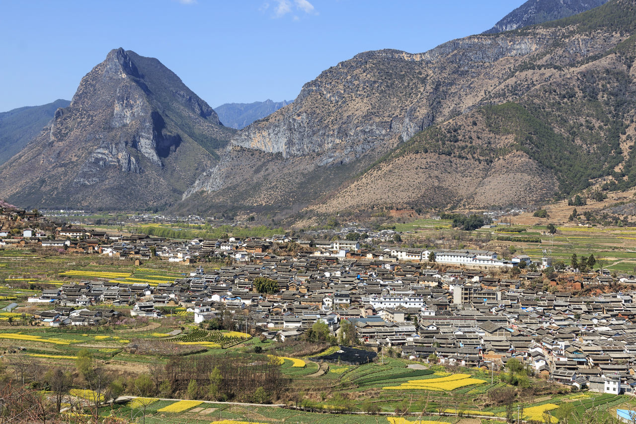 ShiGu village near Lijiang, aerial view. ShiGu is in Yunnan, China, and was part of the South Silk Road or ChaMa GuDao ASIA Canola Flowers China First Bend Of The Yangtze River Lijiang Mountain Mountain Range No People Outdoors Rapeseed Flowers River Shigu Town Yangtze River Yunnan