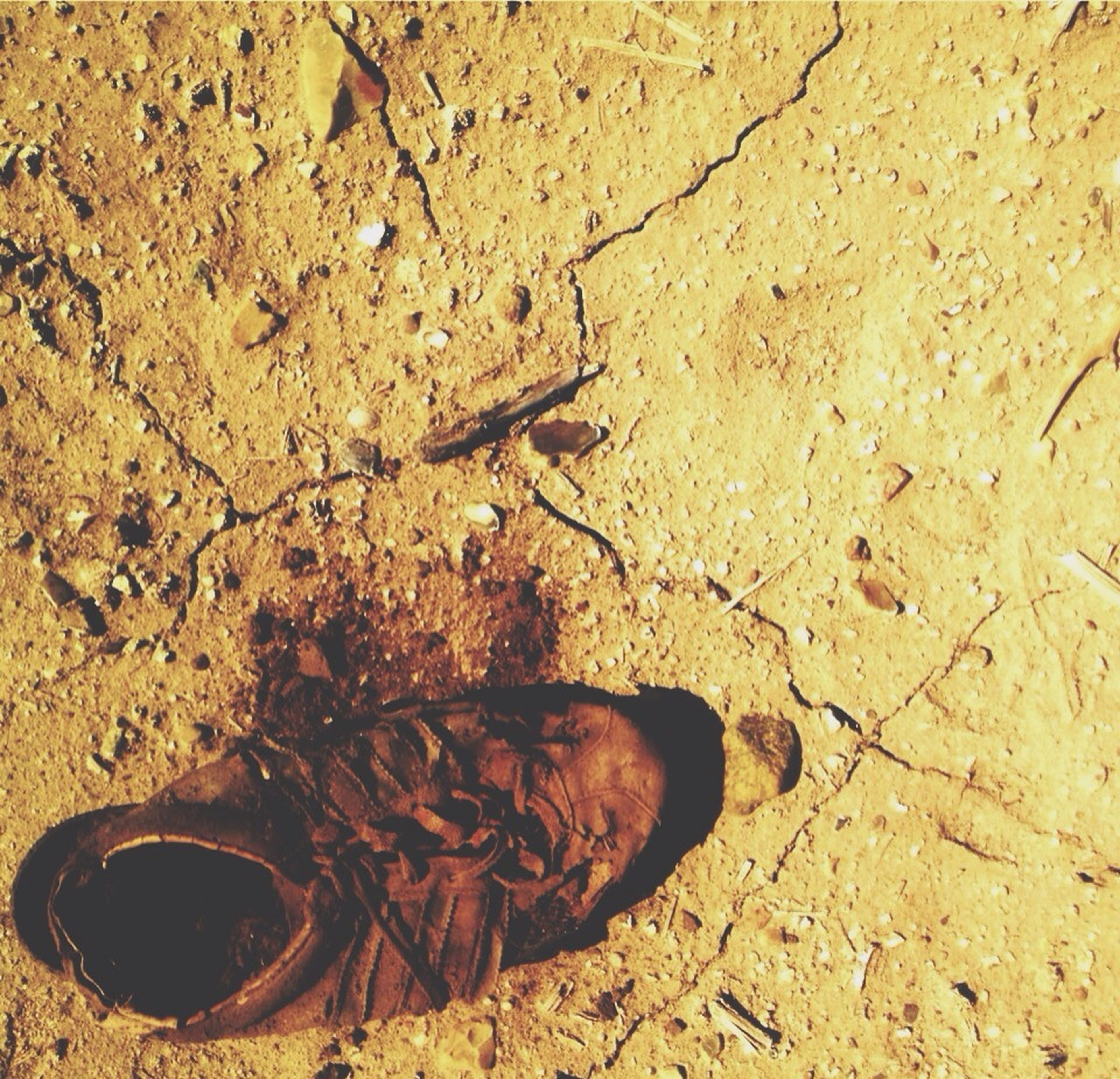 high angle view, sand, beach, abandoned, close-up, still life, ground, dirt, day, outdoors, textured, no people, sunlight, dirty, messy, directly above, damaged, shadow, dry, nature