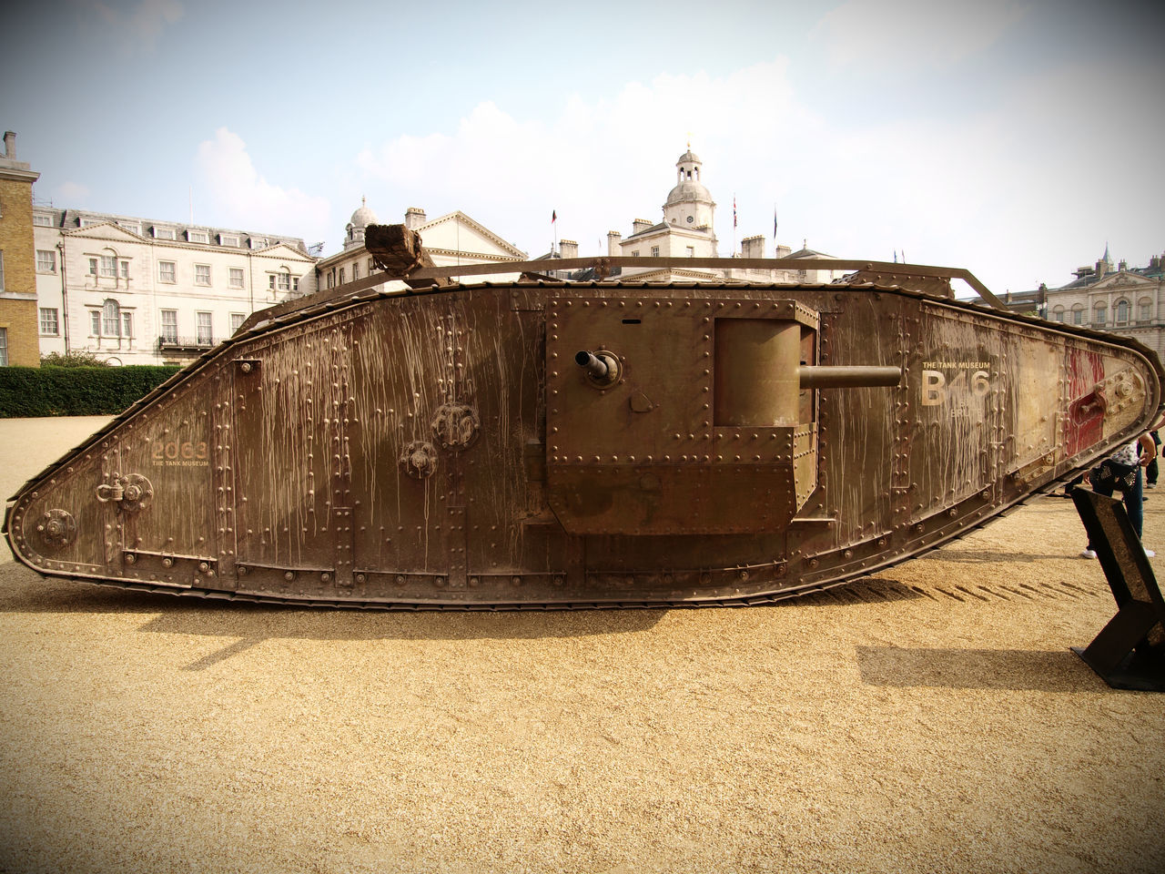 Centenary of the tank. 15/09/16 100 years ago during th battle of the Somme, tanks fought for the first time, to commemorate this a replica MkIV tank (Also used in the movie war horse) was driven to horse guards via Trafalgar Square where it was joined by a current serving Challenger II tank from the British army. Mk IV tank Courtesy of the Bovington Tank Museum. 100 Years Of The Tank 100 Years Old Battle Of The Somme Bovington Tank Museum Centenary  Challenger II Tank Horse Guards  London Mk IV Olympus Steve Merrick Stevesevilempire Tank Centenary Tank Corps Tank Museum Bovington Tanks War Horse War Memorial World War One Zuiko