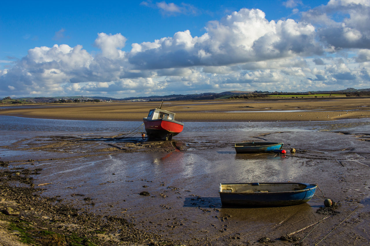 The Taw Estuary at low tide Beach Boats Cloud - Sky Day Estaury Fishing Boat Landscape Landscape_Collection Nature Nautical Vessel No People Outdoors Sand Sky Taw Estuary Water