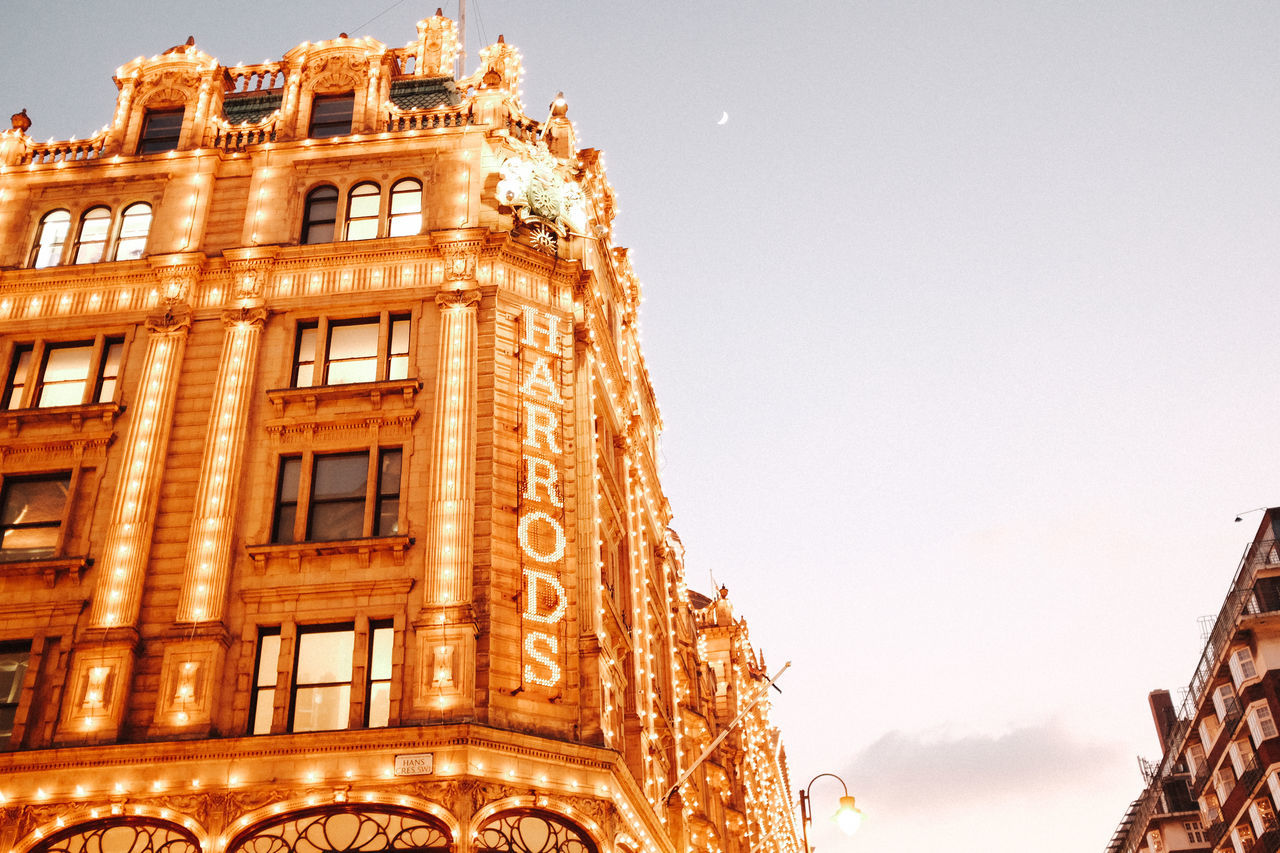 Harrods Architecture Building Exterior Built Structure City City Cloud Day Harrods Lights London Low Angle View No People Outdoors Sky