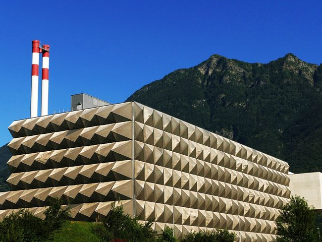 Architecture Architecture_collection Blue Building Exterior Built Structure Check This Out Clear Sky Day EyeEmSwiss Raffaele Nodari Eye4photography  EyeEm Nature Lover Geometry Getting Inspired Industrial Modern Mountain Mountain Range No People Outdoors Pattern, Texture, Shape And Form Sky Smokestack Taking Photos Tower