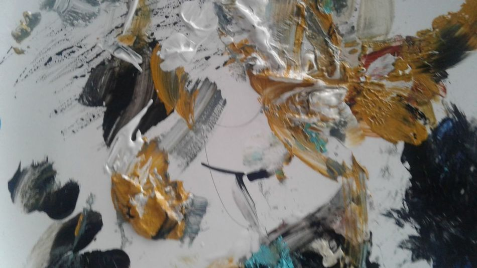 The palette, dabs and swabs of acrylic paint, the surface of an artist. Acrylic Painting Artist Being An Artist Black Blackandwhite Close-up Day Gold High Angle View No People Outdoors Painting Palette Palette Colors White White Background