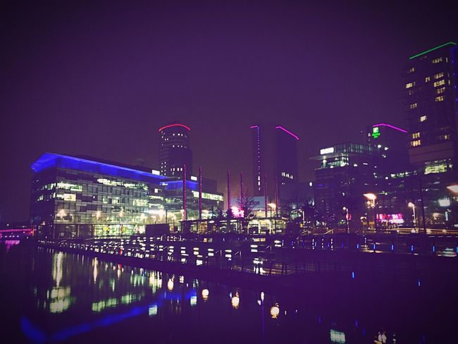 The view of 'The Studios' at Mediacityuk in Manchester - Salford Quays - I love the vibrancy of the lights and the perfect reflections.