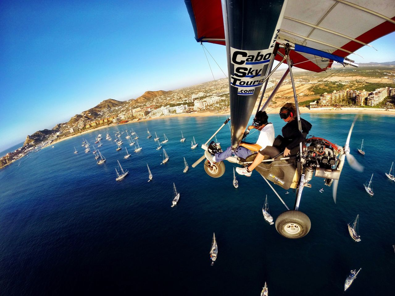 Real People Water Scenics Vacations Friendship Nautical Vessel Togetherness Sky Beauty In Nature Horizon Over Water LosCabos Skydiving Fly Away Adrenaline Junkie Determination Adrenaline Travel Bajacalifornia Mexico Vacations